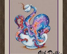 """Cross stitch design """"The Tea octopus"""" Designer – Vik Dollin Artist – Mellodee The size of the embroidery: crosses (for canvas aida 14 is cm) Number Learn Embroidery, Cross Stitch Embroidery, Embroidery Patterns, Ribbon Embroidery, Cross Stitch Designs, Cross Stitch Patterns, Cross Stitch Tattoo, Cross Stitch Art, Octopus Art"""