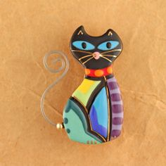 Colorful Cat Pin Cat Brooch Handmade Ceramic by by seanbrownartist
