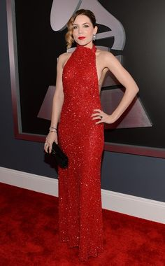 SKYLAR GREY  The singer-songwriter keeps it simple, sparkly and slinky in Giorgio Armani.