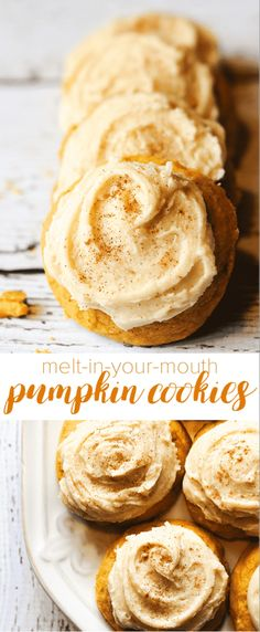 These pumpkin cookies are covered in a brown sugar frosting that will give you life. - - These pumpkin cookies are covered in a brown sugar frosting that will give you life. Fall Desserts, Just Desserts, Delicious Desserts, Dessert Recipes, Yummy Food, Desserts Nutella, Healthy Food, Thanksgiving Desserts, Drink Recipes