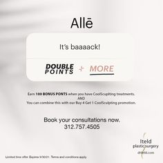 Bonus time!! Earn 100 Alle points when you have CoolSculpting treatments. And, you can combine this with our Buy 4 Get 1 CoolSculpting promotion. Book your consultations now!! 312.757.4505 Hurry. Limited time offer. #coolscuplting #fatfreezing #bodybodysculpting #allePoints #Allee Plastic Surgery Procedures, Cool Sculpting, Promotion, Conditioner, How To Apply, Cards Against Humanity, Books, Libros, Book