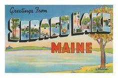 Greetings from Sebago Lake, Maine Premium Poster