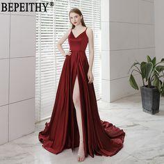 c8b98666011ee US $66.5 30% OFF|Aliexpress.com : Buy BEPEITHY Vestido De Festa New Design  Sexy Slit Formal Dress Burgundy V Neck Long Evening Dresses Reflective Dress  2019 ...