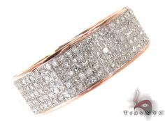 Mens Rose Gold Pave Diamond Ring 21177 Mens Diamond Ring Rose Gold 14k Round Cut 1.34 ct - TraxNYC.com