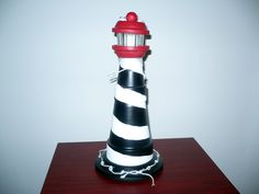 Lighthouses made from terra cotta pots. Can do very large yard versions with working lights.