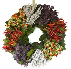 Hot Chili Dried Flower Wreath.  Measures 22 inches across by 5 inches deep.  $56.99