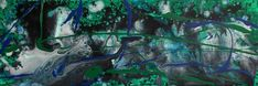 Abstract painting original long canvas art in green blue black white acrylic #Abstract