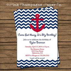 Pink Champagne Paper has a {NEW} Nautical Invitation- Red, Navy Chevron- Anchor! www.etsy.com/listing/157845058 #bof @PinkCPaperCo