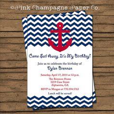 Chevron Nautical Birthday Invitation Boy Birthday Nautical