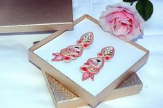 Japanese porcelain bead embroidery soutache earrings medium long gift for her #GeometricEarrings #AnniversaryJewelry #PartyJewelry #japanese #SoutacheEarrigs #BeadEmbroidered #soutache #BeadEmbroidery #geisha