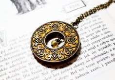 Brass and Polymer Clay Ethnic Pendant by Herinia on Etsy, $25.00
