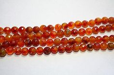Red Orange Agate Faceted Round Gemstone Beads by sedonastonesllc, $5.99