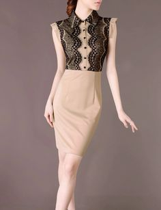 Vintage Lace Dress Beige