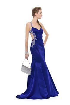 Vestido longo com alças e decote nas costas bordado em pedras, miçangas e paetês. Cod. 101634   #zumzum #zumzumfesta #vestido #festa #vestidodefesta #dress #partydress