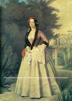 Η Δούκισσα Αμαλία – Μαρία – Φρειδερίκη, του Oldenburg (Ολδεμβούργου), υπήρξε η πρώτη βασίλισσα της Ελλάδας (1836-1862) και σύζυγος του βασιλιά Όθωνα. Ήταν κόρη του Μεγάλου Δούκα Παύλου- Φρειδερίκου… Style Icons, Costumes, Drawings, Artist, Painting, Artworks, Greece, Times, Fashion