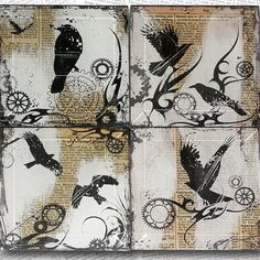 Steampunk  Black Birds with Gears Handmade Glass Coaster Set from Upcycled Dictionary page book art - WilD WorDz - Time Keepers on Etsy, $35.00