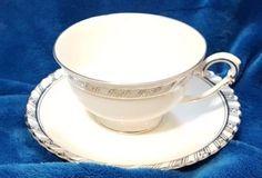 Franconia-Krautheim-Palladina-Tea-cup-and-Saucer-set-Germany-Platinum-accent