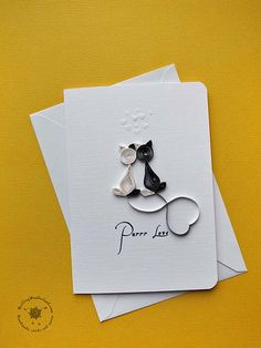 Love card quilled purr love card black and by QuillingWonderland