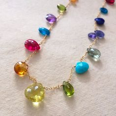 Multi Gemstone 18 Briolette Necklace by GildedPeach on Etsy