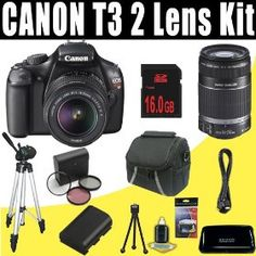 Canon EOS Rebel T3 (1100D) SLR w/ 18-55mm IS II Lens (Black) + Canon EF-S 55-250mm f/4.0-5.6 IS Telephoto Zoom Lens + LPE6 Battery + 3 Piece Filter Kit + 16GB SDHC DavisMAX HDMI Bundle   Price:$752.60