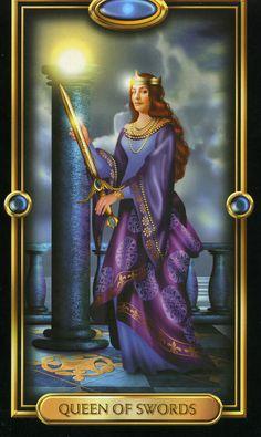 Four of Pentacles Gilded Tarot | Queen of Swords