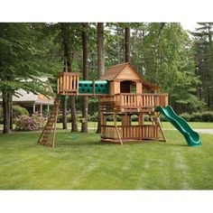 Backyard Discovery Woodridge Elite All Cedar Wooden Swing Set Playground Swing Set, Backyard Swing Sets, Large Backyard Landscaping, Backyard Playground, Backyard For Kids, Landscaping Ideas, Outdoor Fun, Outdoor Spaces, Swing Set Plans