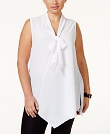 Alfani Plus Size Sleeveless Tie-Neck Blouse, Only at Macy's