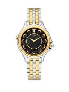 Fendi Crazy Carats Diamond, Black Spinel, White Topaz & Two-Tone Stainless Steel Bracelet Watch