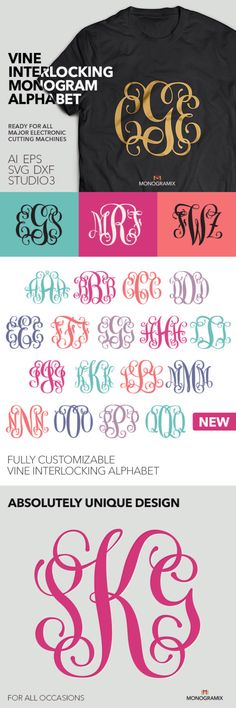 Vine Interlocking Monogram Alphabet (Ai, EPS, SVG, DXF, Studio) Personal Monogram Letters, Cut files for Silhouette Studio, Cutting Machines by Monogramix on Etsy https://www.etsy.com/listing/222840890/vine-interlocking-monogram-alphabet-ai