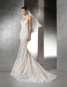 A shear lace halter sheath wedding dress by St. Patrick - Style Zada