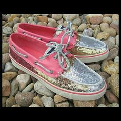 Pink Ombre  Sperry Top-Siders Silver, gold and pink sequins. Laces are silver. These are in very good condition. Shows a little wear on bottoms. Sperry Top-Sider Shoes
