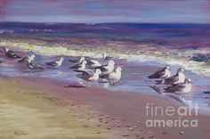 Sand Pipers Enjoy Scenery by Marilyn Nolan-Johnson by Marilyn Nolan-Johnson