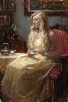 """LOVELY LADY IN YELLOW, HAVING TEA"" Artist: Bryce Cameron Liston:"