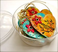 Why buy embellishments when you can make them from household cardboard!  Beautiful.