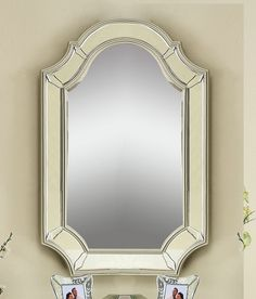 This Acme Furniture Selby Accent Wall Mirror features a curvaceous frame finished in antique champagne silver for Old World style. The sleek, beveled mirror gives it a contemporary look. Acme Furniture, Furniture Direct, Furniture Making, Old World Style, Beveled Mirror, Wall Design, Wall Mirror, Mirrors, Antique Silver