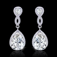 Gem Flawless Diamond AAA Zircon Wedding Earrings, Swarovski Crystal Teardrop Earring, Silver Birdal Earring, Bridesmaid Jewelry-172342159