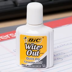 Bic Wite-Out Quick Dry Corrective Fluid 20 mL Bottle - Wite Out, Correction Fluid, 20 Ml, Notebook Paper, Hotel Supplies, Quick Dry, Mistakes, Stationary, Writer