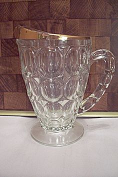 Fostoria American Pattern Anniversary Glass Pitcher