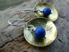 Brass, Sterling Silver and Lapis Earrings by barbmallonjewelry, $35.00