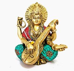 Antique Rare Goddess Saraswati Statue, Turquoise Gemstones & Brass Sarasvati Sculpture, Hand Carved Metal Hindu Ritual Wedding Gift