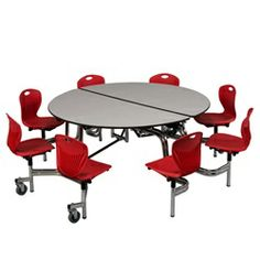 MWF NCUR608C Midwest Mobile Chair Round Cafeteria Table Chrome Frame