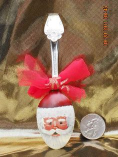Santa On Spoon HandPainted Christmas Ornament by FromTreeToArt