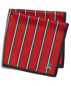 Red Stripe Silk Pocket Square     $85.00