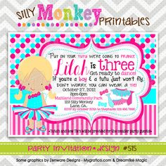 515: DIY - Tutus and Ties Party Invitation Or Thank You Card. $12.95, via Etsy.