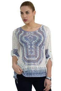 Γυναικεία μπλούζα ethnic με ψηφιακό τύπωμα σε άνετη γραμμή.Είναι ελαφρώς μακρύτερη στο πίσω μέρος και έχει μακριά μανίκια τα οποία γυρίζουν με κουμπί και γίνονται 3/4.Το ύφασμα της είναι εξαιρετικής ποιότητας ελαστικό βαμβάκι βισκόζη. Spring Summer 2016, Blouse, Long Sleeve, Sleeves, Collection, Tops, Women, Fashion, Moda