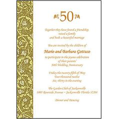 50th Wedding Anniversary reception invitation | ... Personalized 50th Wedding Anniversary Party Invitations AP 011 | eBay
