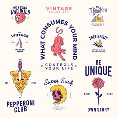 Set of vintage badges design vector Free Vector Logo Branding, Branding Design, Graphic Design Logos, Graphic Tees, Cv Curriculum Vitae, Logos Retro, Vintage Logos, Vintage Graphic Design, Vintage Branding