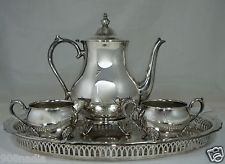 VINTAGE SILVER PLATED TEA/COFFEE SET,POT,SUGAR BOWL,CREAMER,SERVING TRAY