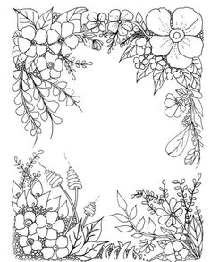 Bloem Free Adult Coloring, Adult Coloring Book Pages, Colouring Pages, Coloring Sheets, Coloring Books, Embroidery Patterns, Hand Embroidery, Doodle Borders, Floral Border