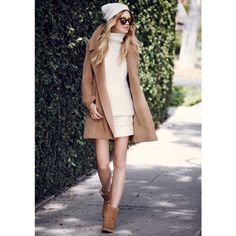 Perfect for LA 'winter' pair a mini with a thigh-grazing camel coat and short Uggs